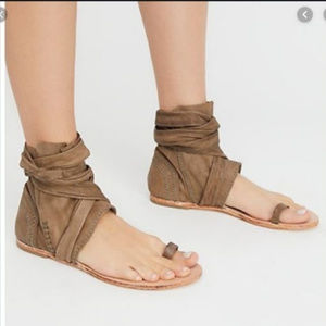 Free People Leather Delaney Ankle Tie Sandals 38